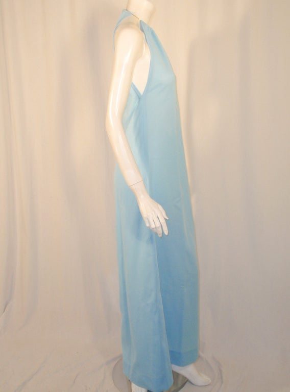 Rudi Gernreich Light Blue Knit Halter Dress w/ Metal Neck Ring 6