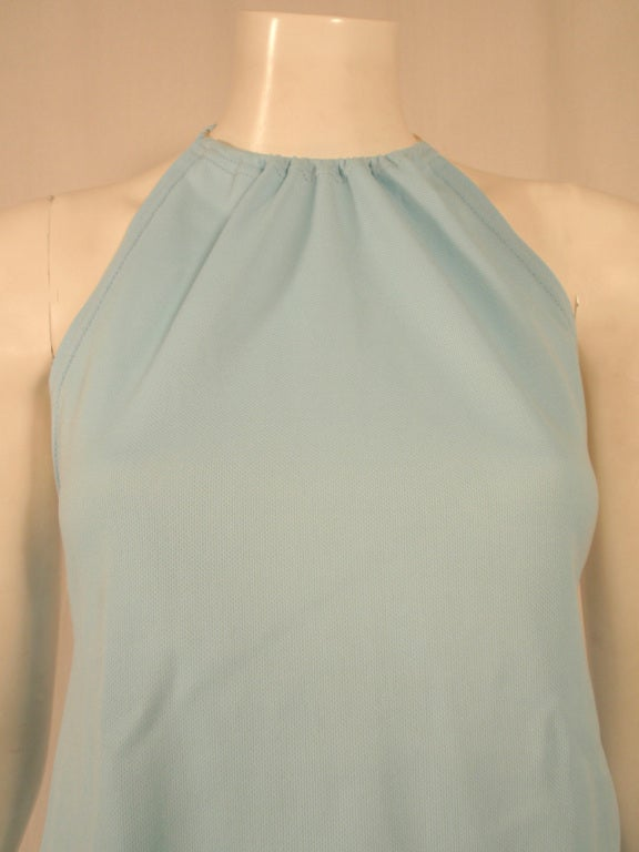 Rudi Gernreich Light Blue Knit Halter Dress w/ Metal Neck Ring 7
