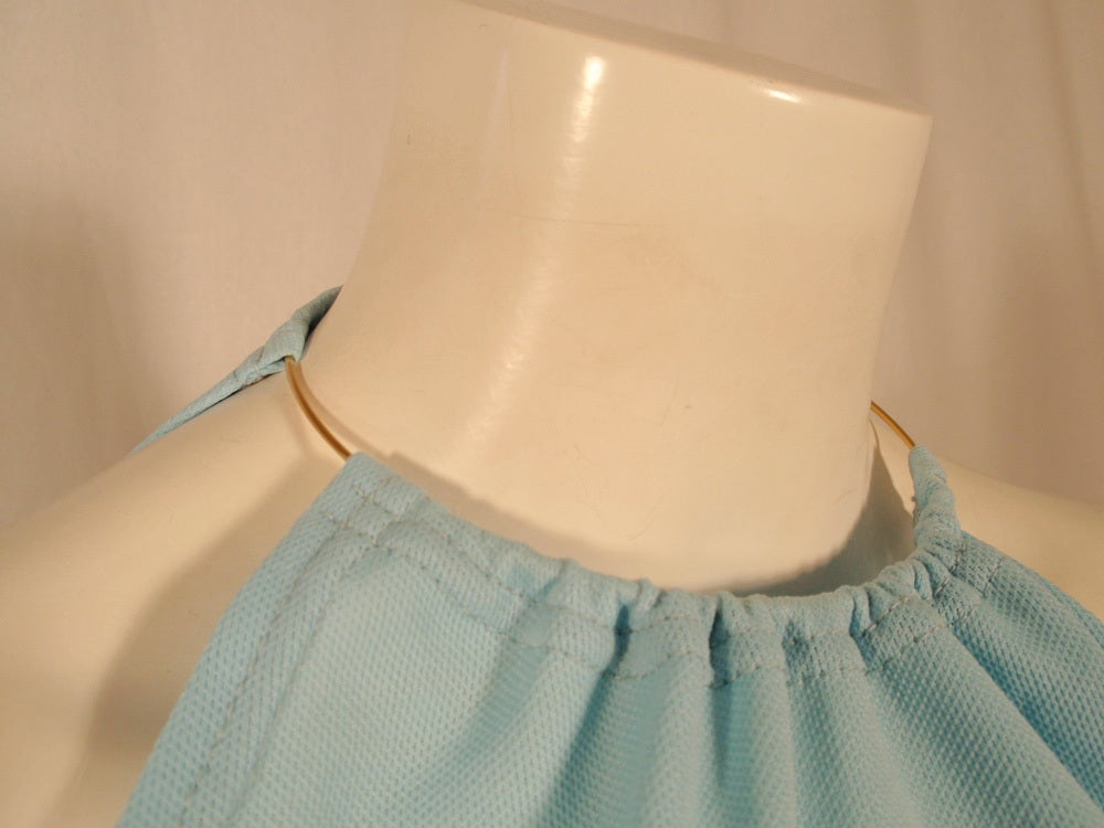 Rudi Gernreich Light Blue Knit Halter Dress w/ Metal Neck Ring 9
