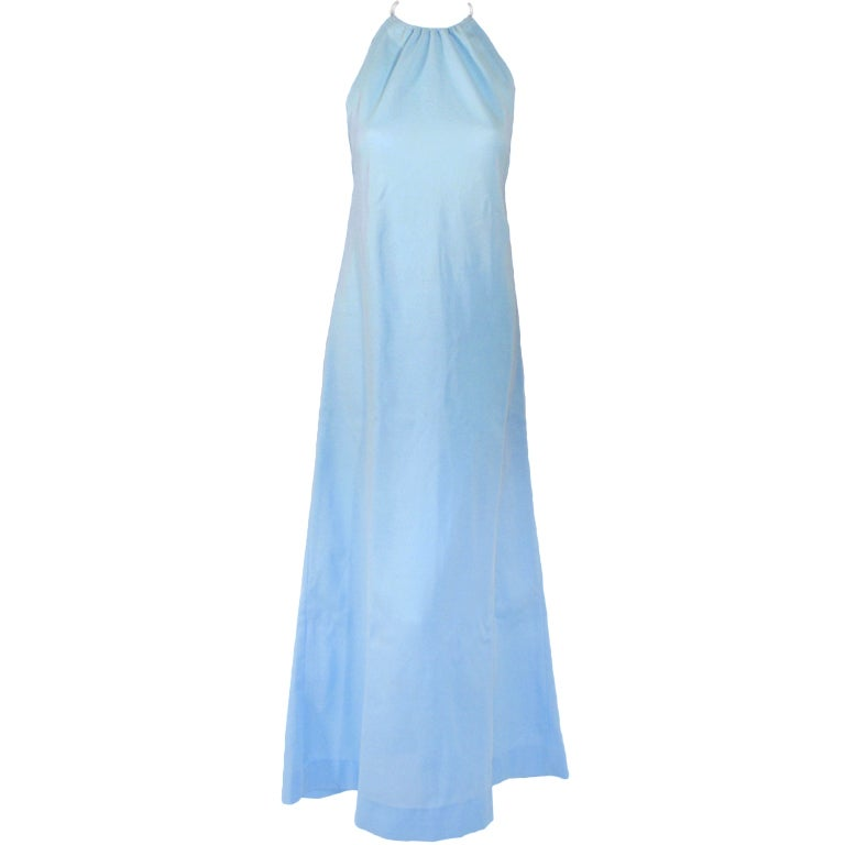 Rudi Gernreich Light Blue Knit Halter Dress w/ Metal Neck Ring 1