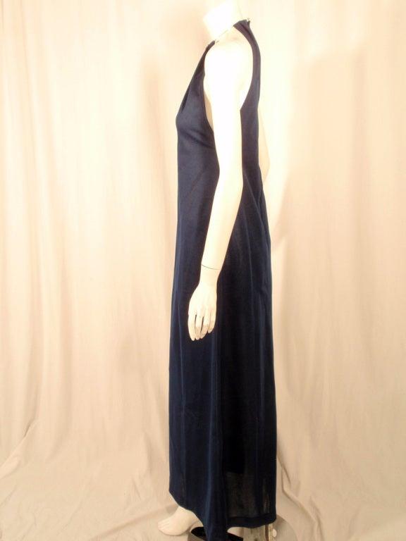 Black Rudi Gernreich Navy Knit Halter Dress w/ Metal Neck Ring For Sale