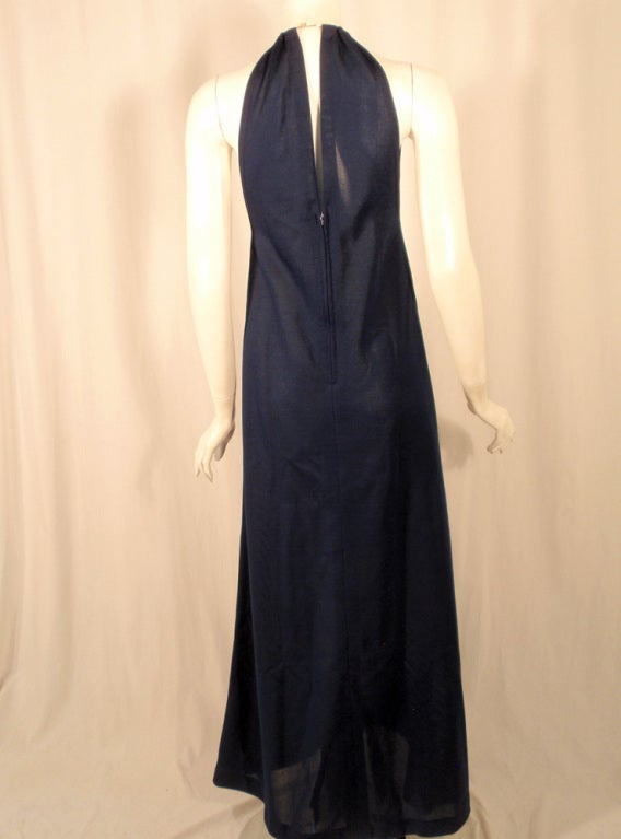 Rudi Gernreich Navy Knit Halter Dress w/ Metal Neck Ring In Excellent Condition For Sale In Los Angeles, CA
