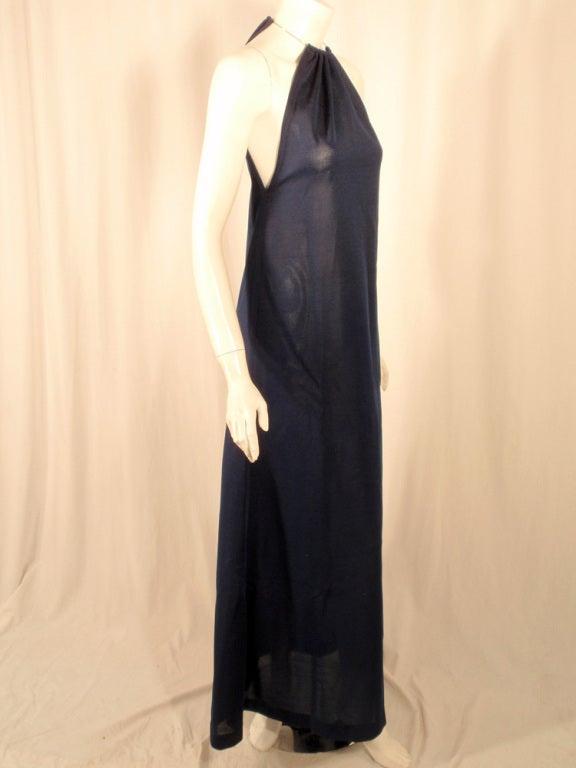 Women's Rudi Gernreich Navy Knit Halter Dress w/ Metal Neck Ring For Sale