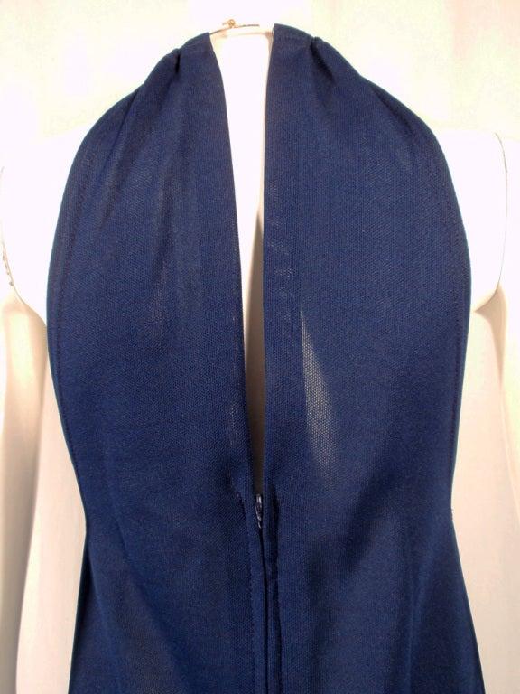 Rudi Gernreich Navy Knit Halter Dress w/ Metal Neck Ring For Sale 2