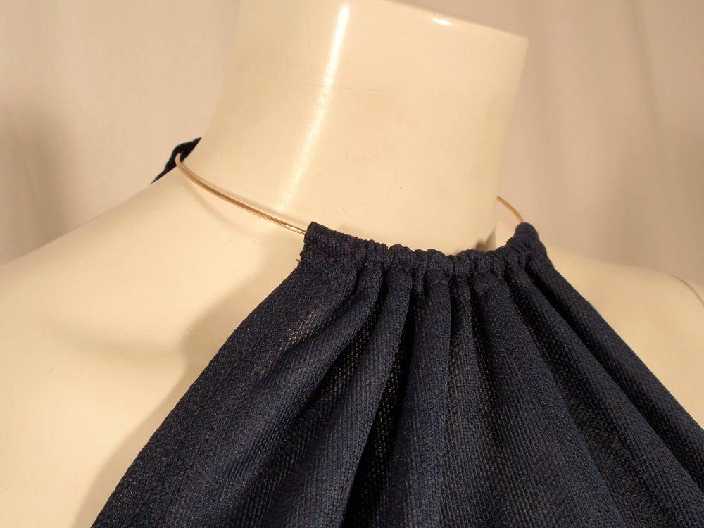 Rudi Gernreich Navy Knit Halter Dress w/ Metal Neck Ring For Sale 3