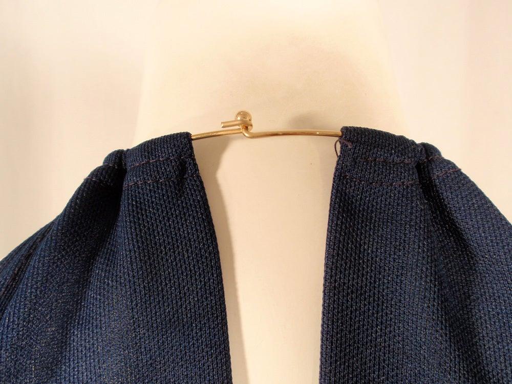 Rudi Gernreich Navy Knit Halter Dress w/ Metal Neck Ring For Sale 4