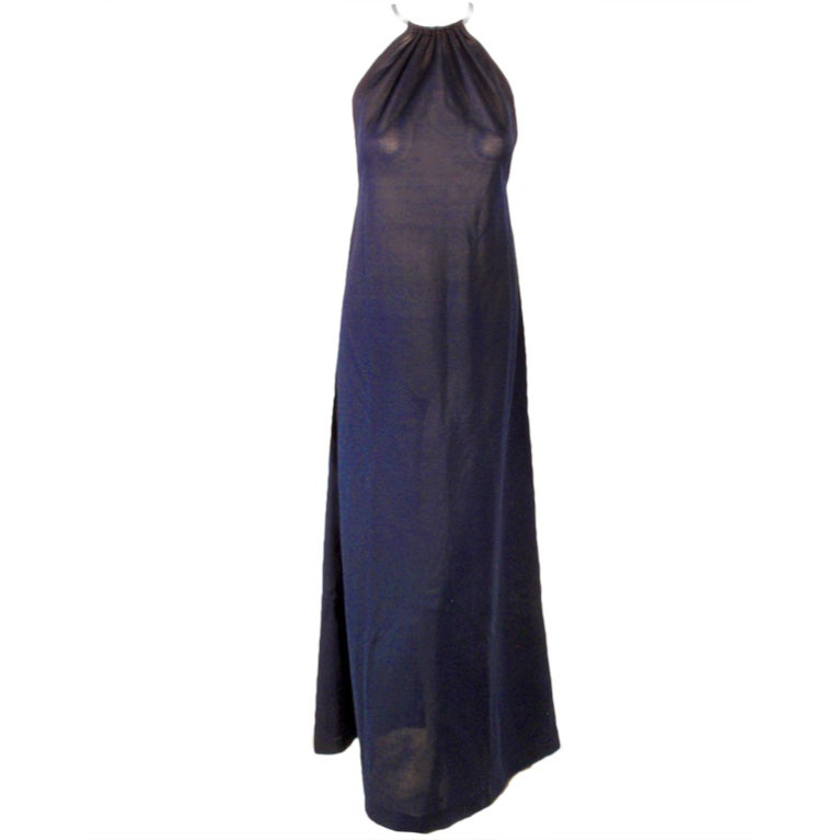 Rudi Gernreich Navy Knit Halter Dress w/ Metal Neck Ring