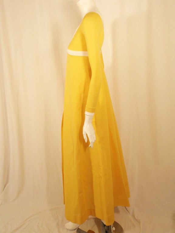 Rudi Gernreich Yellow Empire Waist Gown w/ White Criss Cross In Excellent Condition For Sale In Los Angeles, CA