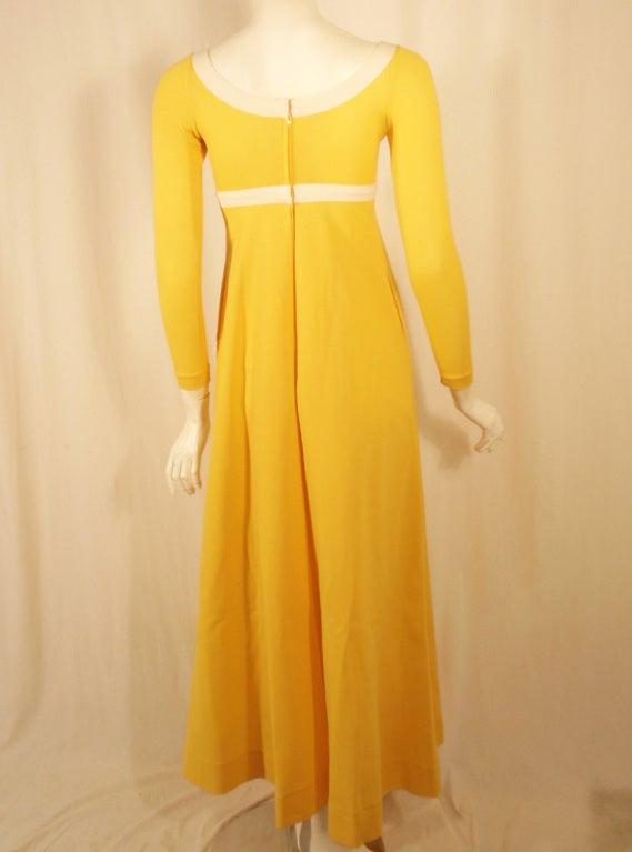 Rudi Gernreich Yellow Empire Waist Gown w/ White Criss Cross 4