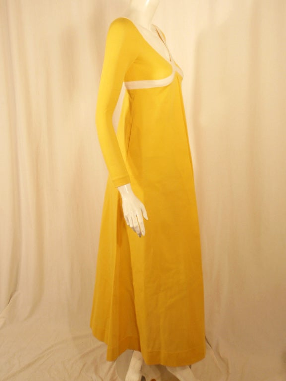 Rudi Gernreich Yellow Empire Waist Gown w/ White Criss Cross For Sale 1