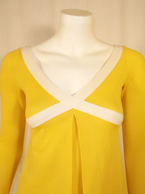 Rudi Gernreich Yellow Empire Waist Gown w/ White Criss Cross For Sale 2
