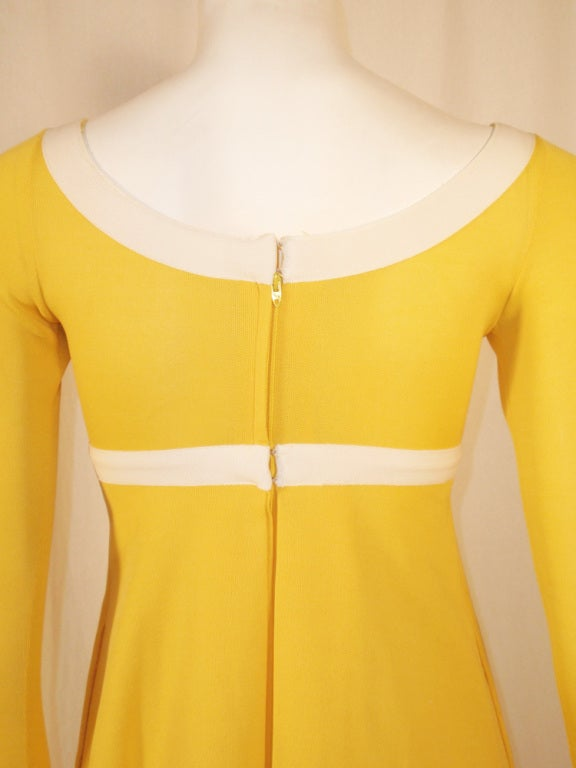 Rudi Gernreich Yellow Empire Waist Gown w/ White Criss Cross For Sale 3