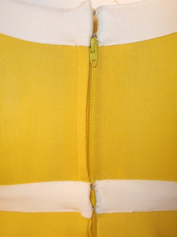 Rudi Gernreich Yellow Empire Waist Gown w/ White Criss Cross For Sale 4