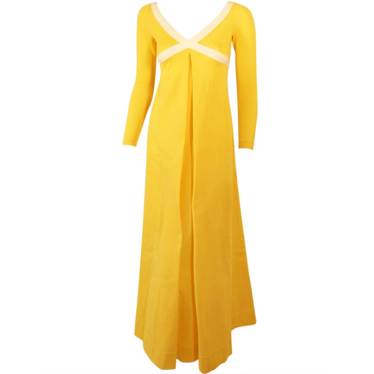 Rudi Gernreich Yellow Empire Waist Gown w/ White Criss Cross For Sale