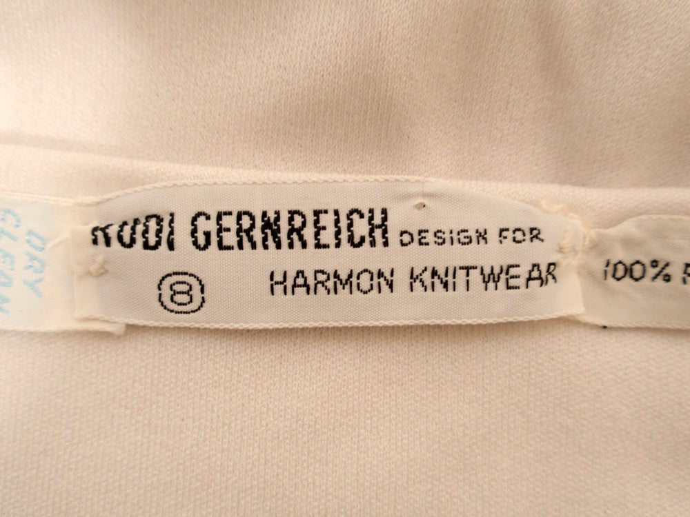 Rudi Gernreich for Harmon Knitwear Black & White Short Sleeve Knit Wrap Top In Excellent Condition For Sale In Los Angeles, CA