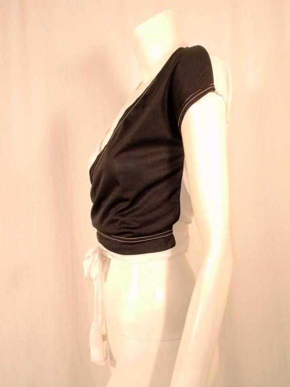 Women's Rudi Gernreich for Harmon Knitwear Black & White Short Sleeve Knit Wrap Top For Sale
