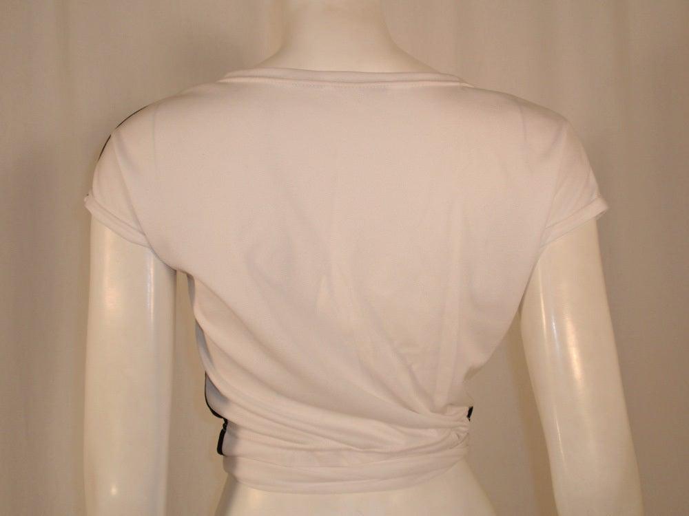 Rudi Gernreich for Harmon Knitwear Black & White Short Sleeve Knit Wrap Top For Sale 1