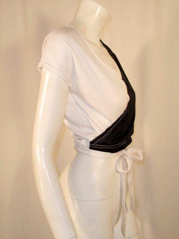 Rudi Gernreich for Harmon Knitwear Black & White Short Sleeve Knit Wrap Top For Sale 2