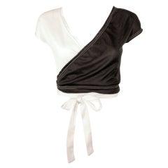 Rudi Gernreich for Harmon Knitwear Black & White Short Sleeve Knit Wrap Top