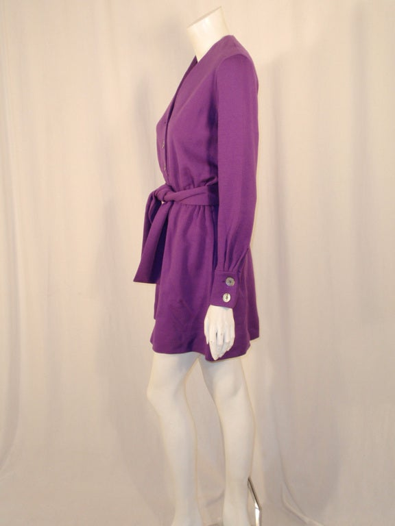 Brown Rudi Gernreich Purple Knit Mini Coat Dress w/ Button Front & Belt For Sale