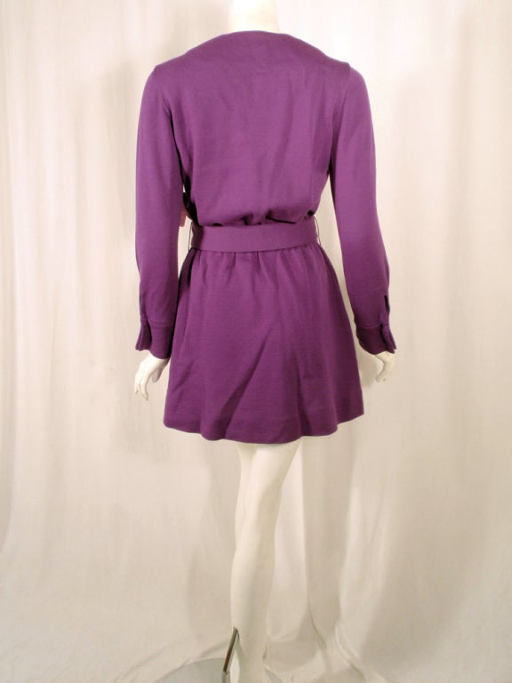 Rudi Gernreich Purple Knit Mini Coat Dress w/ Button Front & Belt In Excellent Condition For Sale In Los Angeles, CA