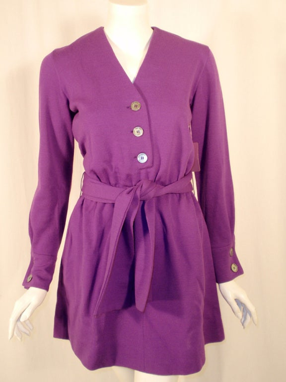 Rudi Gernreich Purple Knit Mini Coat Dress w/ Button Front & Belt For Sale 1