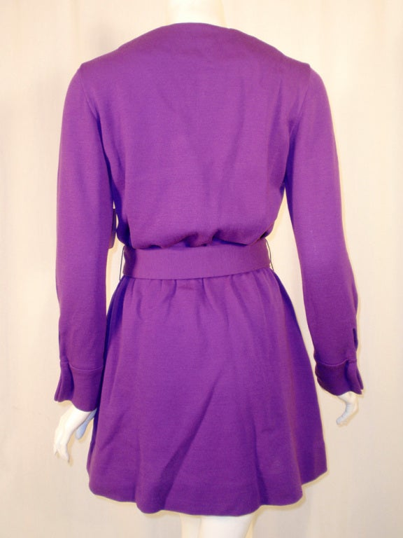 Rudi Gernreich Purple Knit Mini Coat Dress w/ Button Front & Belt For Sale 2