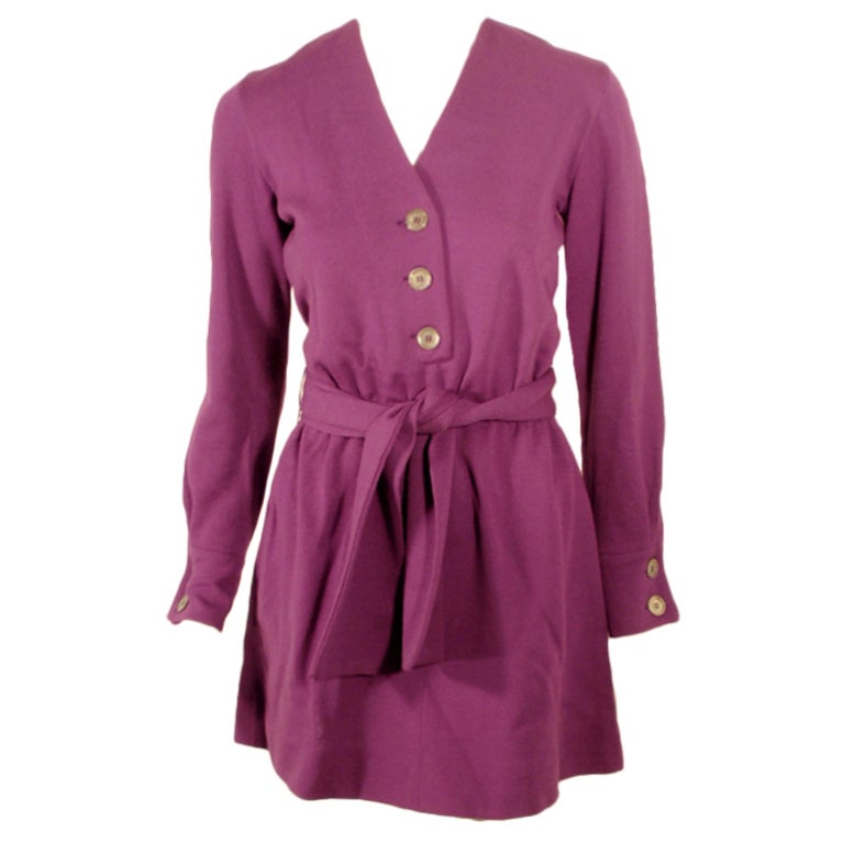 Rudi Gernreich Purple Knit Mini Coat Dress w/ Button Front & Belt For Sale