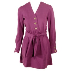 Rudi Gernreich Purple Knit Mini Coat Dress w/ Button Front & Belt
