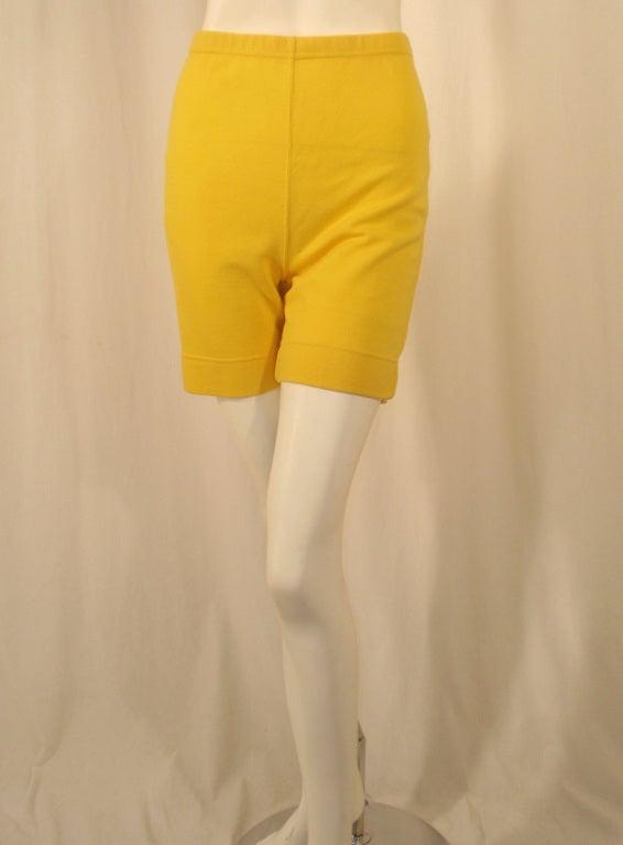 Rudi Gernreich Vintage Mustard Wool Knit High Waist Shorts 2