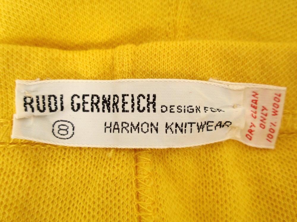 Rudi Gernreich Vintage Mustard Wool Knit High Waist Shorts 3
