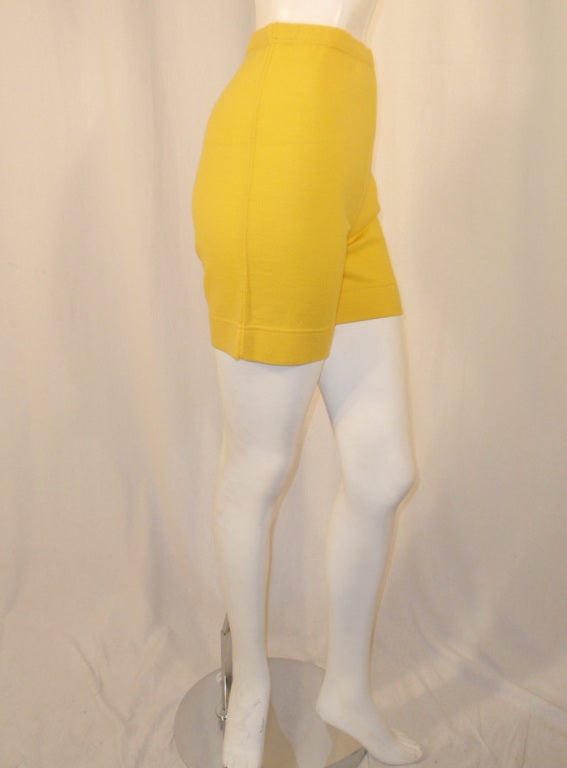 Rudi Gernreich Vintage Mustard Wool Knit High Waist Shorts 6