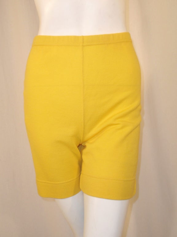Rudi Gernreich Vintage Mustard Wool Knit High Waist Shorts 7