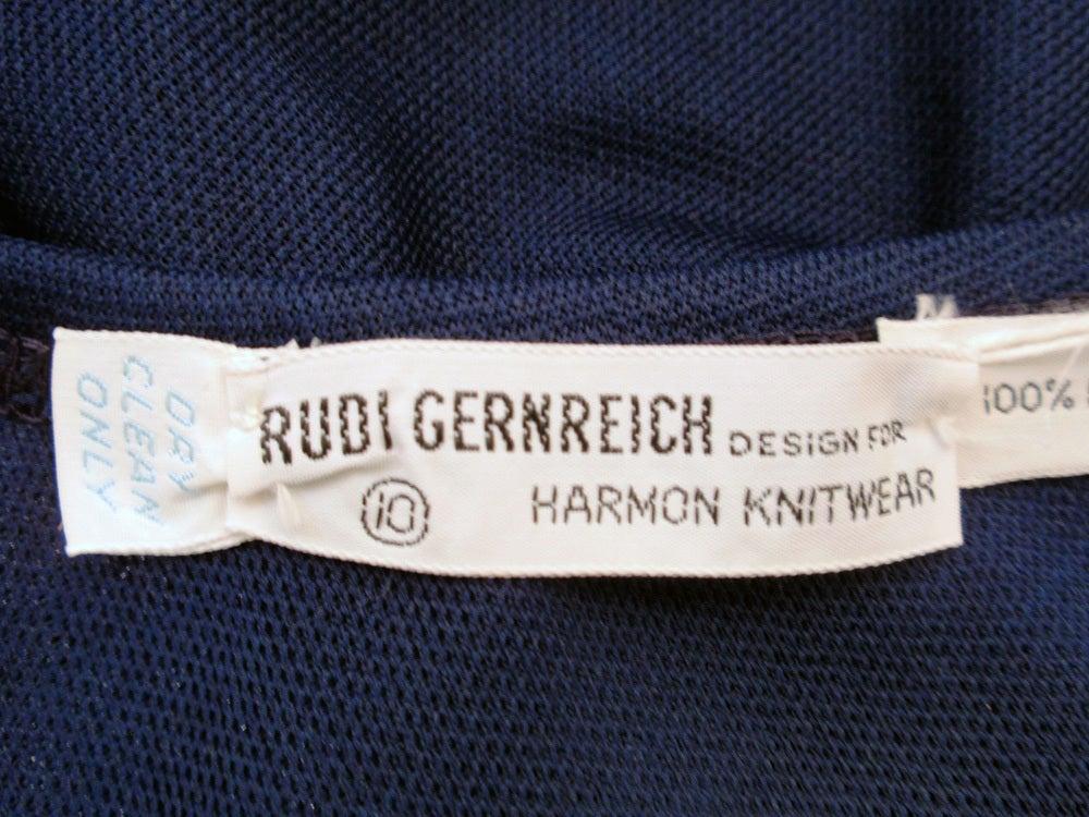 Rudi Gernreich 2 pc. Navy 1 Shoulder Crop Top/Long Slit Skirt 3