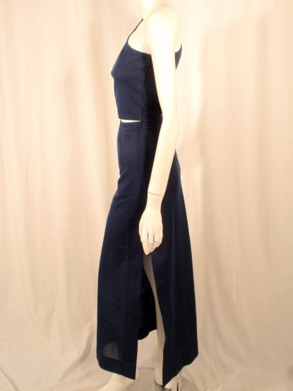 Rudi Gernreich 2 pc. Navy 1 Shoulder Crop Top/Long Slit Skirt In Excellent Condition For Sale In Los Angeles, CA