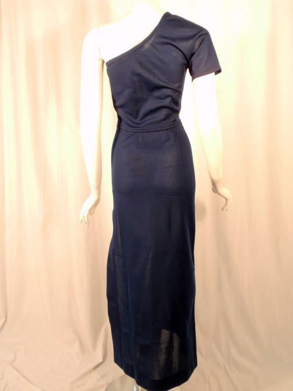 Rudi Gernreich 2 pc. Navy 1 Shoulder Crop Top/Long Slit Skirt 5