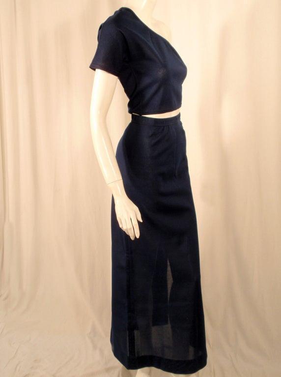 Rudi Gernreich 2 pc. Navy 1 Shoulder Crop Top/Long Slit Skirt 6