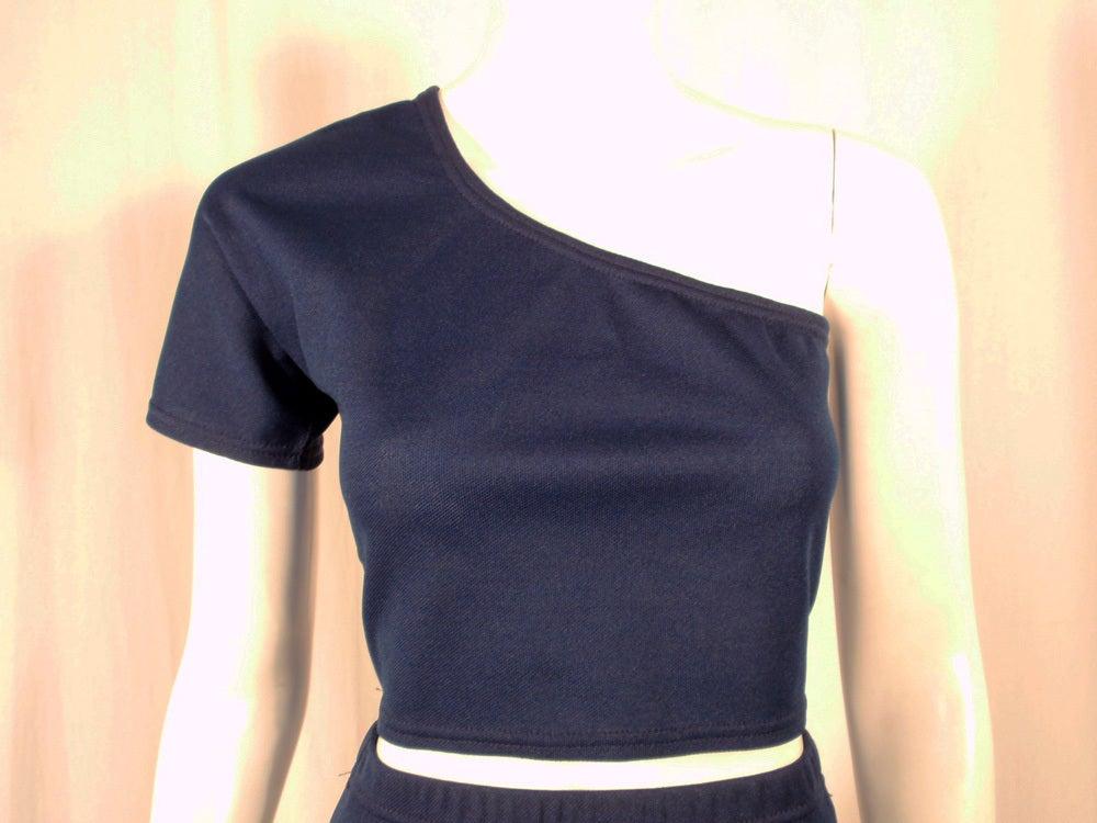 Rudi Gernreich 2 pc. Navy 1 Shoulder Crop Top/Long Slit Skirt 7