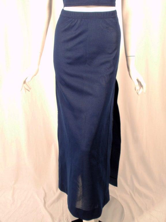 Rudi Gernreich 2 pc. Navy 1 Shoulder Crop Top/Long Slit Skirt 9