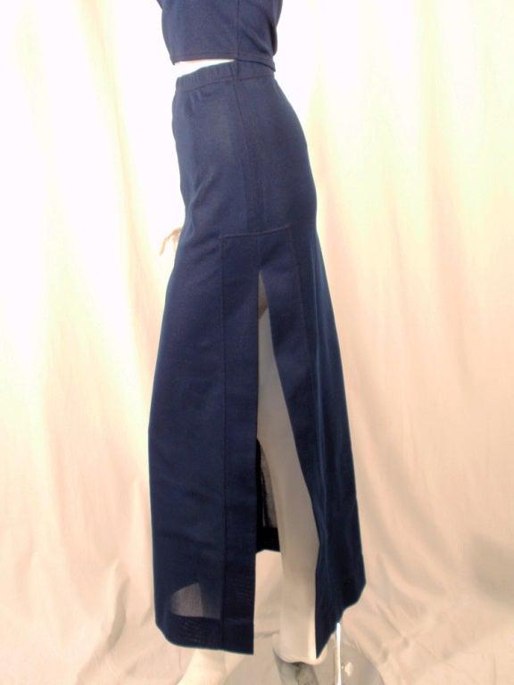 Rudi Gernreich 2 pc. Navy 1 Shoulder Crop Top/Long Slit Skirt 10