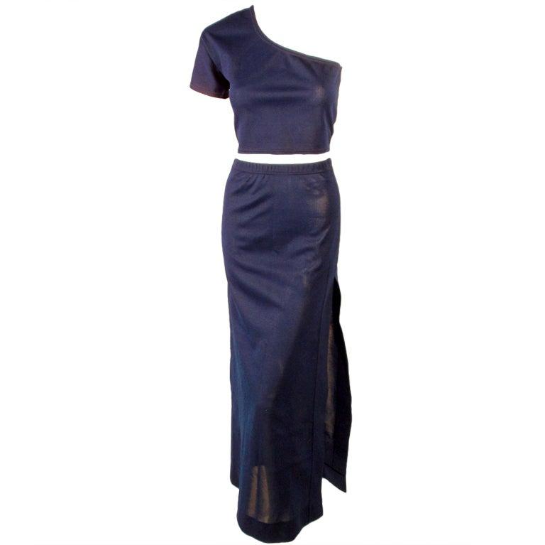 Rudi Gernreich 2 pc. Navy 1 Shoulder Crop Top/Long Slit Skirt