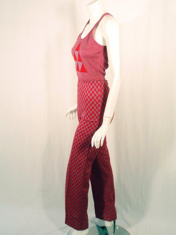 Rudi Gernreich 2 pc. Red & Purple Check Tank Top & Pants Set 4