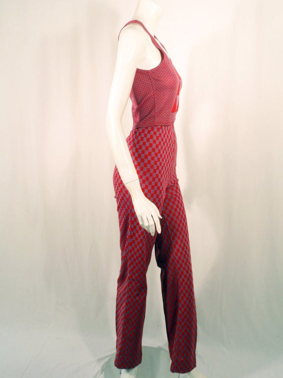 Rudi Gernreich 2 pc. Red & Purple Check Tank Top & Pants Set 6