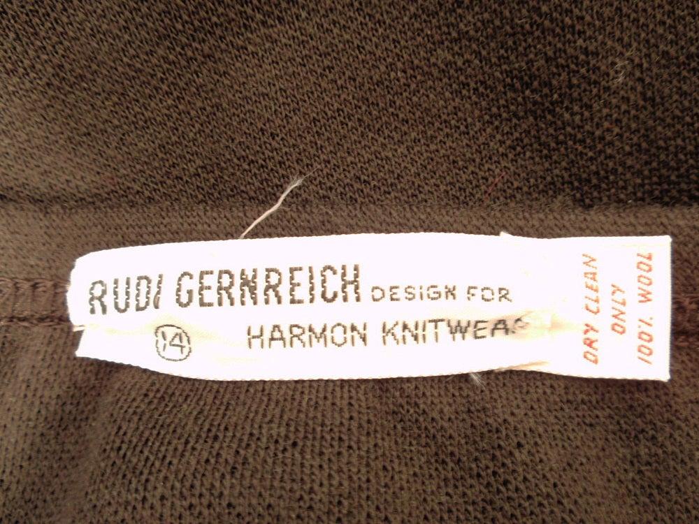 Rudi Gernreich Vintage Brown Wool Knit Mini Skirt 3