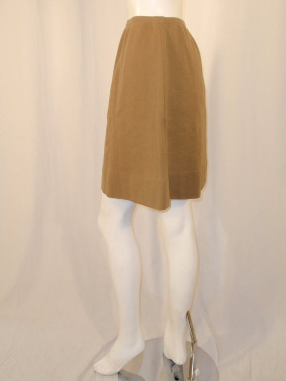 Rudi Gernreich Vintage Tan Wool Knit Mini Skirt, 1960's In Excellent Condition For Sale In Los Angeles, CA