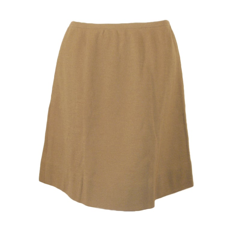 Rudi Gernreich Vintage Tan Wool Knit Mini Skirt, 1960's