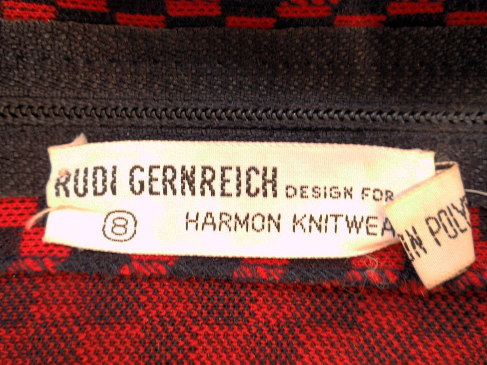 Rudi Gernreich Red & Navy Check Knit Sleeveless Long Dress In Excellent Condition For Sale In Los Angeles, CA