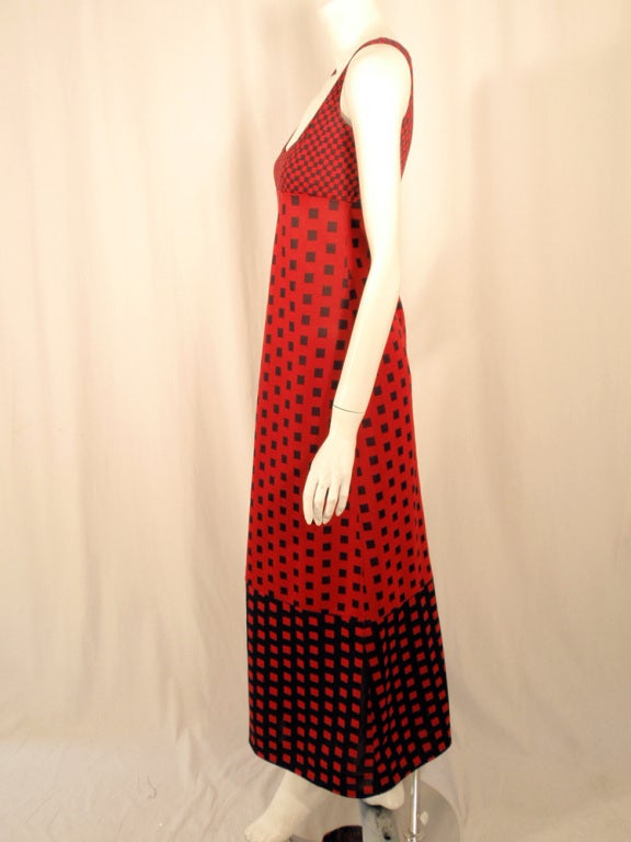 Women's Rudi Gernreich Red & Navy Check Knit Sleeveless Long Dress For Sale