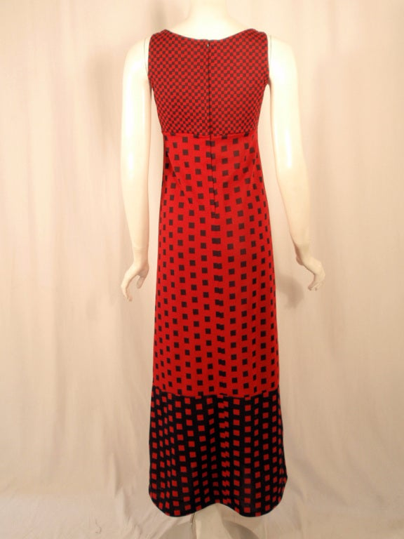 Rudi Gernreich Red & Navy Check Knit Sleeveless Long Dress For Sale 1
