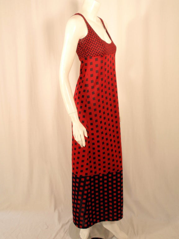 Rudi Gernreich Red & Navy Check Knit Sleeveless Long Dress For Sale 2